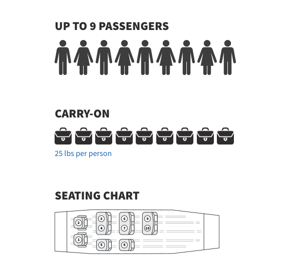 Icons Depicting Passenger Capcity for the Plan, Carry-On Allowance, and Plane Seating Chart